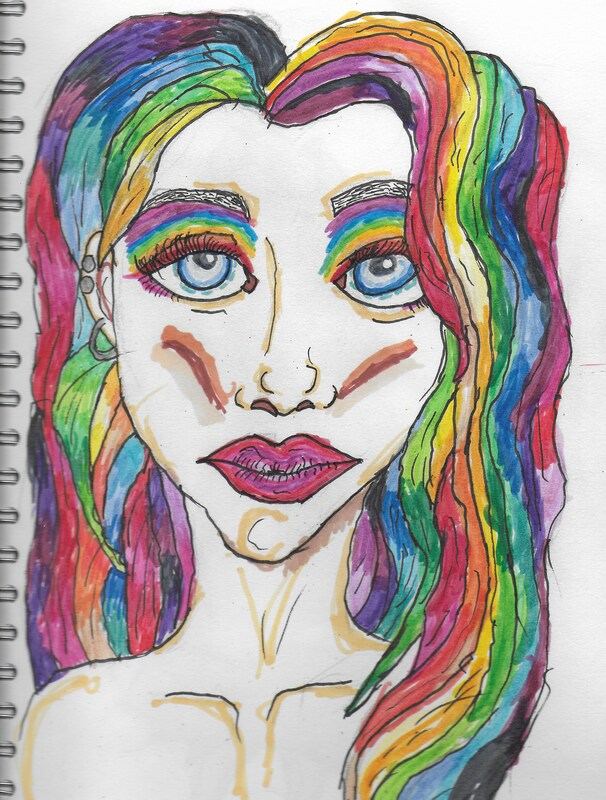 Beautiful rainbow haired woman, with big blue eyes.
