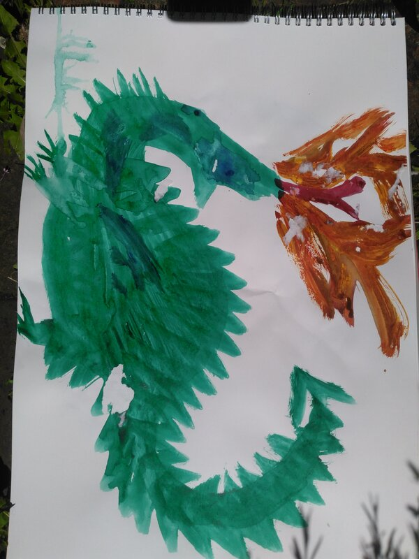 Green fire-breathing dragon by Robert